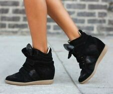 Isabel Marant Black Bekett Wedge Sneakers Size 39 Leather Shoes