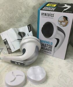 Homedics Handheld Shiatsu Massager Mains Powered 3 x Heads Auto Pulse W52