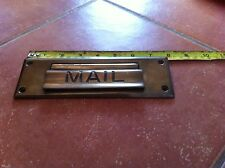 "95 X 63 mm RECLAIMED BRASS LETTERBOX PLATE LETTER / MAIL BOX BARN FIND 8"" x 2.5"""