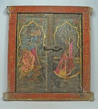 Antique Wooden Window Original Old Hand Crafted Very Fine Painted God Krishna