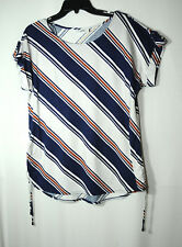 NAVY BLUE WHITE STRIPED LADIES CASUAL TOP BLOUSE WALLIS SIZE M EU 40-42 STRETCHY