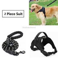 Dog Leash Heavy Duty Collar Set Harness Large Black No Pull Reflective Nylon