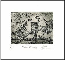LOVE DOVES Original Signed Etching Limited-Edition Mini Bird Art Print Picture
