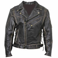 Men's Terminator Arnold Brando Black Distressed stylish Cowhide Leather Jacket