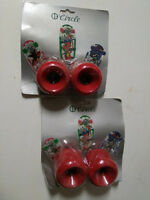 4 x VINTAGE CIRCLE RED SKATEBOARD WHEELS IN BLISTER - OLD SCHOOL - NOS