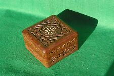 A HIGHLY DECORATED SQUARE CARVED HINGED WOOD BOX  IN HARDWOOD  #2