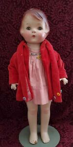 """Vintage/Antique Unmarked Large Compo Girl Doll Working Tin Sleep Eyes 20"""" Cute"""