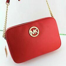 Michael Kors Fulton Large EW Chain Crossbody Shoulder Bag Pebbled Leather Red