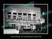 OLD POSTCARD SIZE PHOTO OF MARIETTA GEORGIA THE STRAND MOVIE THEATER c1960