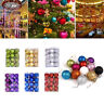 24pcs Christmas Ball Ornaments Xmas Tree Decorations Shatterproof Baubles+Hooks