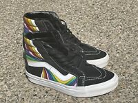 Vans Refract Sk8-Hi Reissue Black rainbow Stripe Womens Size 6.5 - Men 5 -Used.