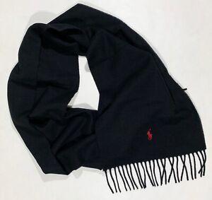Men's POLO RALPH LAUREN Black Fringed Wool Logo Scarf Muffler NWT NEW NiCe!