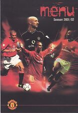 Manchester United V West Ham 8 DICEMBRE 2001 EUROPA Suite Match Day menu