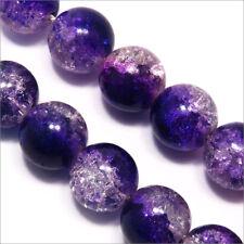 Lot de 20 Perles Craquelées en verre 12mm Bicolore Bleu Cristal