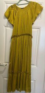 Anthropologie Current Air Satin Frilly Midi Dress Mustard Yellow M UK 10 BNWT