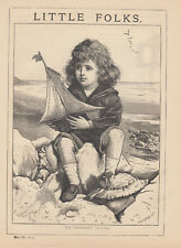 VICTORIAN BOY BY SEASHORE WITH MODEL SHIP MODEL BOAT TOY SHIP ANTIQUE PRINT 1875