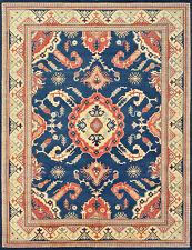 Geometric Kazak Rug, 9'x12', Blue/Beige, Hand-Knotted Wool Pile