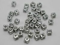 250 Assorted Silver Acrylic Alphabet Letter Cube Beads 6X6mm Pony Jewelry Making