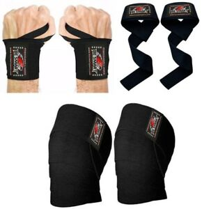 Knee Wraps Weight Lifting Body Building Gym Training Support Leg Wrist Straps BL