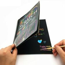 Large Magic Color Rainbow Scratch Art Paper Notebook Black DIY Drawing Painting