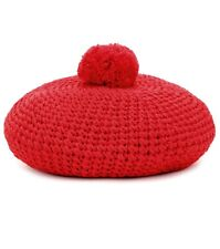 $410 GUCCI Crocheted Red Cotton Pompom Beret Size M NWOT