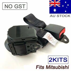 For Mitsubishi 2Kits 3Point Top Retractor Seat Belt Safe Sash Strap Car Seatbelt