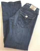 True Religion JOEY BIG T Jeans Low Rise Medium Wash Flare Twisted Hem Women 28