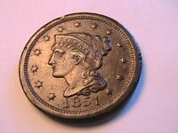 1851 Large Cent Nice XF+/AU Original Brown Toned Braided Hair Penny 1C US Coin