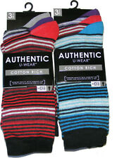 6 PAIRS OF AUTHENTIC MENS COLOUR STRIPE STRIPED COTTON RICH SOCKS - UK SIZE 6-11