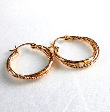 Creole Sparkling 18K Gold Plated 28mm Snap Closure Girl twist Hoop Earrings