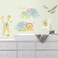 TRIBAL BABY ANIMALS WALL DECALS Big Lions Elephants Llama Stickers Nursery Decor