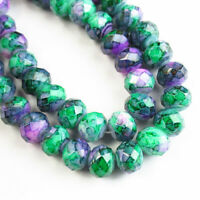 "8x5mm Faceted Purple Green Fire Agate Crystal Rondelle Loose Bead 15.5 "" A-329TZ"