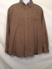 Woolrich Mens Long Sleeve Button Front Shirt 100% Cotton Nutmeg Check  XL