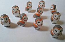 Peruvian Ceramic White and Orange Owl Bird Animal Beads 25X17 mm Lot of 10