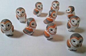 Peruvian Ceramic White and Orange Owl Bird Animal Beads 25X17 mm Lot of 10 Bulk