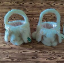 "Collectible White/pink Bearington Easter ""Bountiful Bunny Basket"" Set of 2"