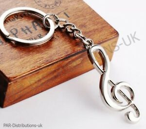 Music Note Treble Clef Keyring Metal Keychain  Violin Guitar Novelty Gift uk