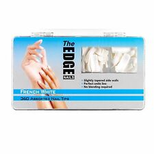 THE EDGE FRENCH WHITE HALF WELL NAIL TIPS BOX OF 360, 100 OR REFIL PACKS