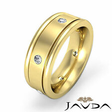 Round Diamond Mens Eternity Wedding Band 18k Yellow Gold 7mm Dome Ring 0.25Ct
