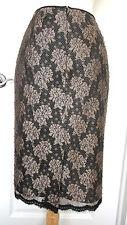ADRIANNA PAPELL Evening  Skirt~Sz 4~Straight  * Black & Beige Lace  ~Beautiful ~