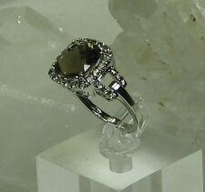 HSN-Brown Sugar 3.53ct Diamond & Smoky Quartz Sterling Silver Link Ring SZ 6.25