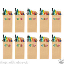 10 SETS OF 6 COLOURING WAX CRAYONS - KIDS PARTY BAG WEDDING FAVOUR GIFT LOOT