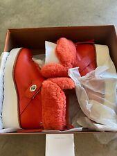 Coach Urban Hiker Shearling Boots Size 7 Womens Orange Q7800 Leather Sheep Fur