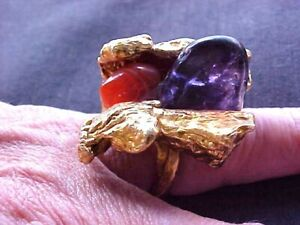 Vintage Gold Plated Stone Cluster Size 6 Free Form Pinky Ring