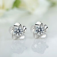 Pair Flower Elegant Lady Women Silver Crystal Rhinestone Earrings Stud Jewelry