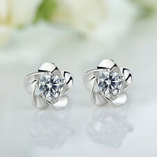 1 pair Flower Elegant Lady Women Silver Crystal Rhinestone Stud Earrings Jewelry