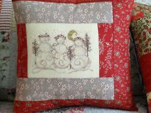 Christmas Cross Stitch Pattern Snowman Friends Folk Art Trees