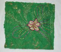 Vintage Dupatta Stole Long Chiffon Silk Green Scarves Hand Zardozi Beaded  Veil