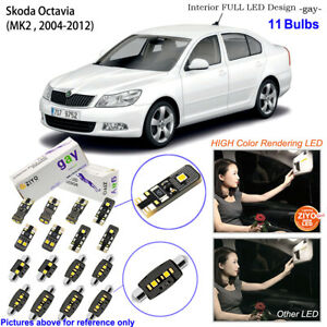 11 Bulbs Deluxe LED Interior Light Kit White For 2004-2012 MK2 Skoda Octavia