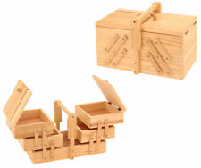 Holz Nähkästchen ausklappbar - Nähkasten Nähkiste Nähkorb Näh Box Aufbewahrung